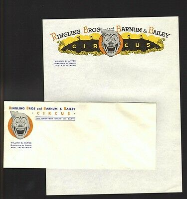Vintage Ringling Bros Barnum & Bailey Circus Letterhead & Envelope with Clown