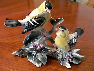 Jsc Vintage Porcelain 2 'goldfinch' Birds On Branches Colorful Figurine Exc