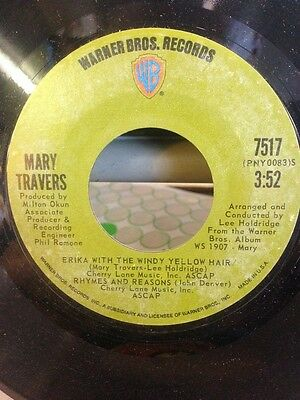 Mary Travers The Song Is Love Vinyl Single 7inch Warner