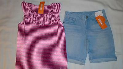 NEW Girls Size 7-8 Gymboree Outfit Striped Shirt & Bermuda Jean Shorts $43 NWT