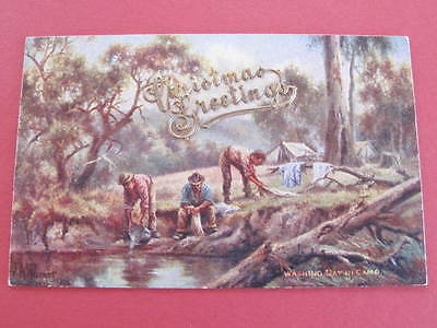 J A Turner Washing Day in Camp Australian Artist Drawn Postcard Thick Card Type