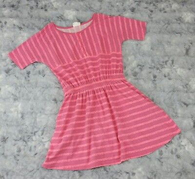 Crazy 8 Girls Size L 10-12 Pink Striped Cotton Knit Short Sleeve Dress