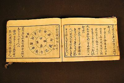 230 Y.O 1787 JAPANESE FINANCIAL GUIDE BOOK  / Woodblock Calligraphy & Astrology