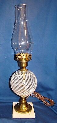Vintage Fenton French Opalescent Swirl Electric Lamp