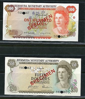 Bermuda Monterary Authority Set Of Crisp Unc Specimen Notes 1,5,$10,20,50 & $100