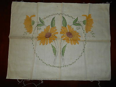 VTG Richardson's Linen Hand Stamped Tinted Embroidery Pillow Top SUNFLOWERS