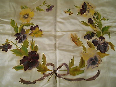 Vintage Hand Painted Satin Pillow Top Purple & Yellow PANSY Wreath Art Picture