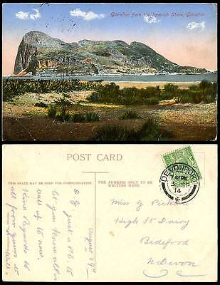 Gibraltar From The Spanish Shore The Rock, GB KG5 1/2d. 1914 Old Colour Postcard