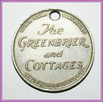 Vintage The Greenbier and Cottages Sulphur Springs West Virginia Va Token Coin