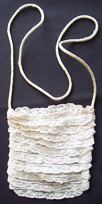 Cute Small Vintage Ivory Lace Purse Antique Handmade Bag