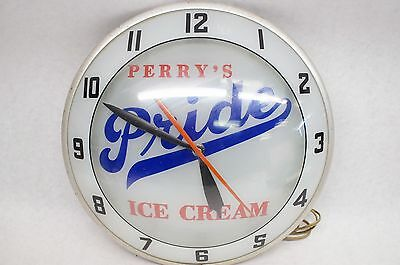 """Vintage Perry's Pride Ice Cream 15"""" Double Bubble Clock Glass- Works Perfectly"""