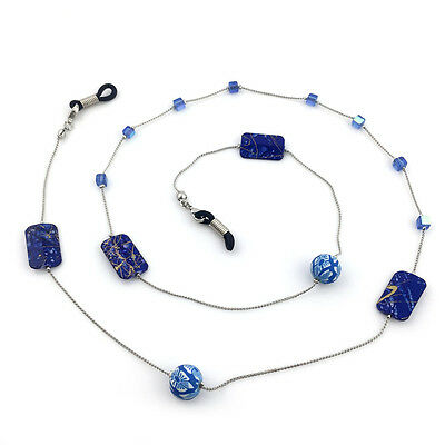 Blue Beads Beaded Eyeglass Cord Reading Glasses Eyewear Spectacles Chain Holder