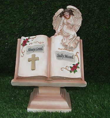 Angel Sitting On A Book With Led Light Verse Plaque Memorial Grave Ornament