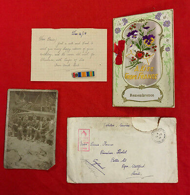 """Ww1 British Army Letter, Silk Card,photo,""""in The Ruins Of Poperinge""""& Medal Bar."""