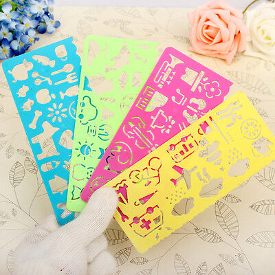 4 x styles Cute Graphics and Symbols Drawing Template Stencil ruler special N7