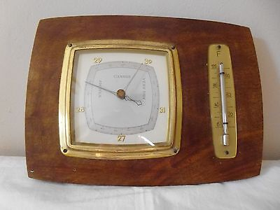 Vintage  wooden wall hung barometer and thermometer