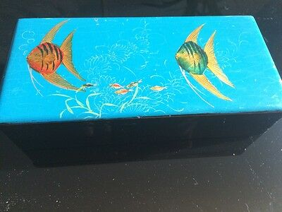 Vintage Japanese Lacquered Angel Fish Wooden Trinket Box Glove Box