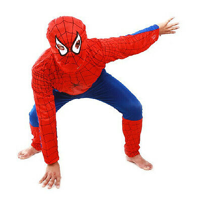 Hot Red Spiderman Boys Kids Costume Children Apperal Hero Fancy Outfit Clothing