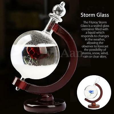 Weather Forecast Crystal Drops Globe Shape Storm Glass Bottle Meteorology Detect