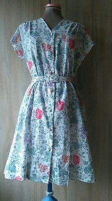 (L7) Sweet retro vintage green pink floral belted  tea dress 12/14