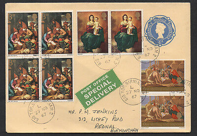 "Christmas 1967 ""Special Delivery"" FDC with 4/-8d stamps to Rednal, Birmingham."