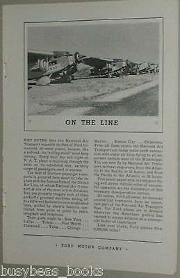 1931 Ford Tri-Motor airplane advertisement, National Air Transport planes