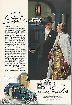 1938 BODY by FISHER advertisement, large BUICK, General Motors top hat & tails