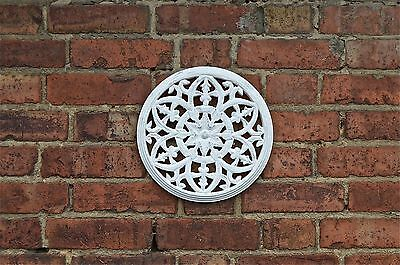 Beautiful Gothic Antiqued White Paint Fret Carved Wooden Roundel Grill Wall Art