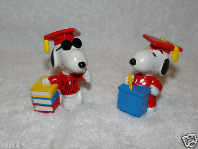 "Nib Set Of 2  Snoopy Class Of Cool 2.5 ""pvc  Applause 1971 Vintage Figure  Vthf"