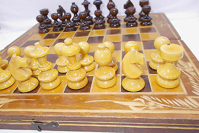 Vintage chess board game toy wood wooden set Hungary 1970's