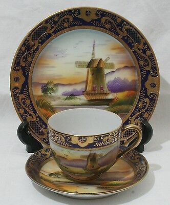 Superb Antique 1920s Old Mill China Japan Handpainted Signed S Niki Trio #6