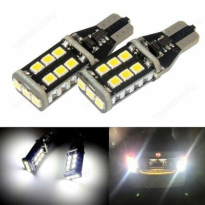 Pair T15 W16W CANBUS 921 LED Tail Reverse Parking Light Bulbs White No Error