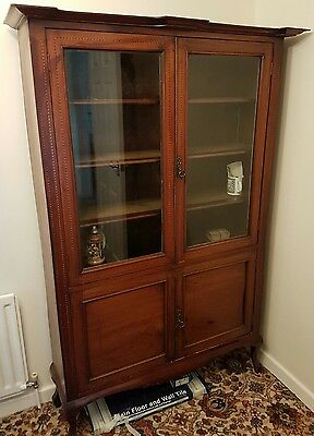Superb rose wood with inlaid pattern glazed display cabinet