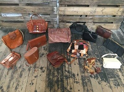 Job Lot damaged Leather Bags Kelly Saddle Satchel Croc Patchwork Tooled J72