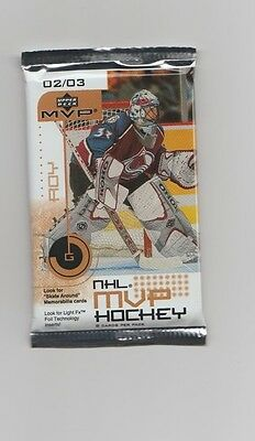 NHL Upper Deck 2002/03 MVP Sealed 8 Card Pack - New - Look for memorabilia cards