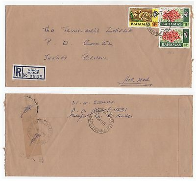 1975 BAHAMAS Registered Air Mail Cover FREEPORT To JERSEY