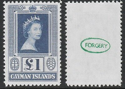 Caymans (2108) - 1953 Queen Elizabeth £1 -  a Maryland FORGERY unused