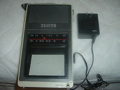 Vintage Zenith Portable Television with Antenna,UHF,VHF,Tested/Works with A/C.