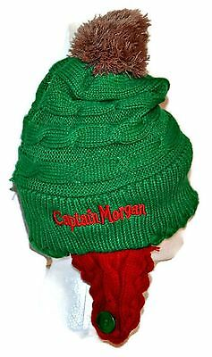 CAPTAIN MORGAN Knitted Toque with Pom Poms Ear Flaps Winter Promo Hat Ear Flaps
