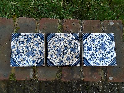 3 x antique blue and white tiles