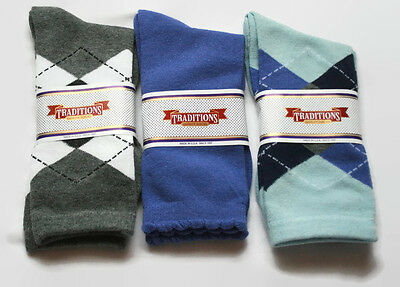 Lot 3 Pair Womens Designer Cotton Crew Socks Size 9-11 Lavender Blue Gray Argyle
