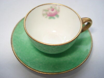 Cww1 Crown Staffordshire Miniature Mottled Green & Rose Bud Pattern Cup & Saucer