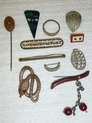 11 Piece Antique Vintage JEWELRY LOT Micro Mosaic Bar Pin ITALY Snake Red Eyes