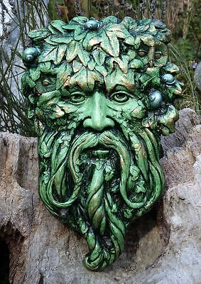 Green Man Wall Plaque - Unique Design - Hand Made in Wales.