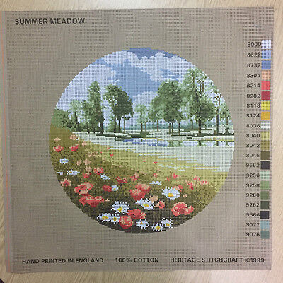 Needlepoint Tapestry Printed Canvas Only - Heritage Stitchcraft - Summer Meadow