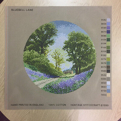 Needlepoint Tapestry Printed Canvas Only - Heritage Stitchcraft - Bluebell Lane