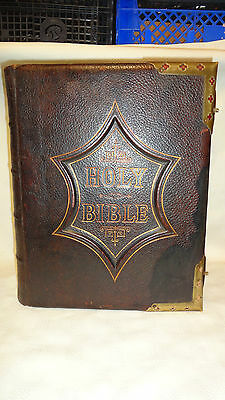 Antique Victorian Leather & Brass Bound Large English Family Bible