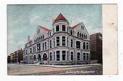 Old Postcard Maryland Club Baltimore  Md 1909