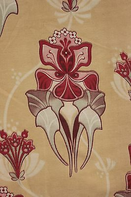 Antique French Art Nouveau printed cotton fabric design 85 inches by 14 wide