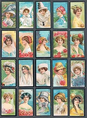 1912 ITC C90 Beauties (Coloured, Black Border) Tobacco Cards Complete Set of 50